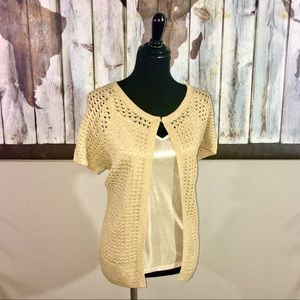 Chico's Gold Crocheted Cardigan